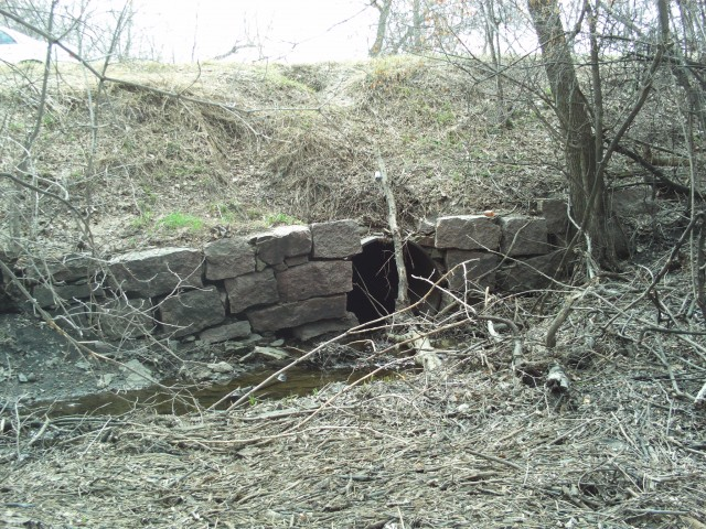A culvert with granite facing along the old road just east of Hawley.