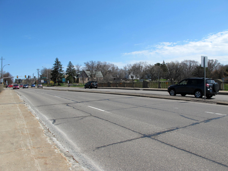Looking southeast across the old Minnetonka Blvd bridge over Highway 100.