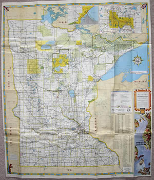 The evolution of the minnesota official highway map 1948 map with map key moved to back cover and twin citiesduluth insets moved to reverse side sciox Gallery