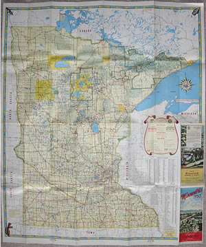 The evolution of the minnesota official highway map 1950 map with stylized key twin cities and duluth insets moved to reverse side again sciox Gallery