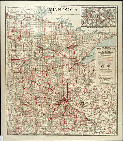1931 Map of Trunk Highway System State of Minnesota