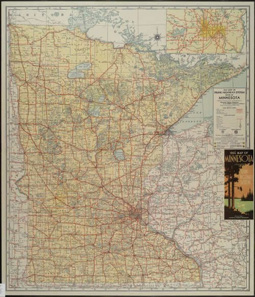 1934 Map of Trunk Highway System State of Minnesota