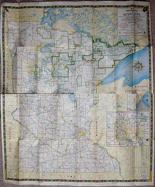 1952 Official Road Map of Minnesota