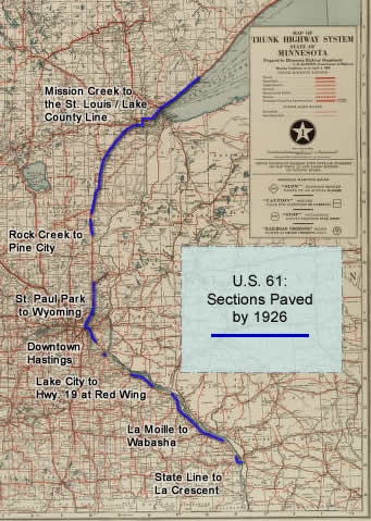 US Minnesota Route History - Us highway 61 map