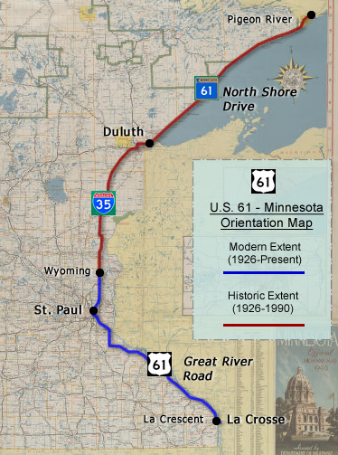 US Minnesota Route History - Us highway map 1960